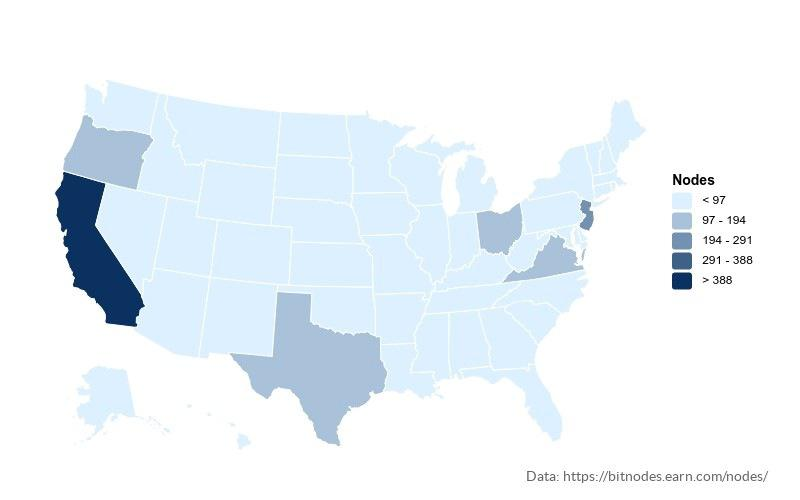 Bitcoin nodes distribution in the US