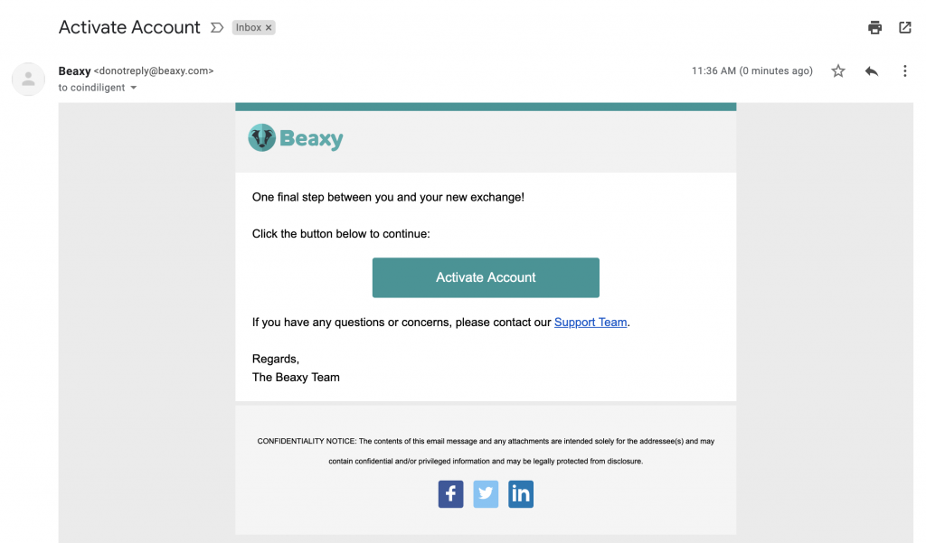 beaxy verification email