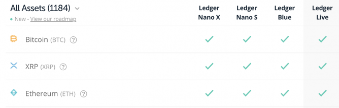 ledger supported coins