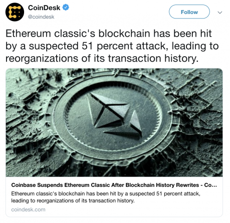 51 percent attack ethereum classic