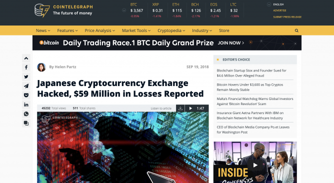 hacked cryptocurrency exchange
