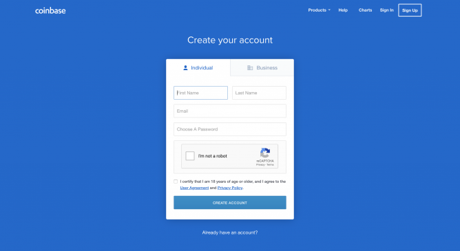 create account on coinbase