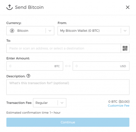 send crypto on blockchain wallet