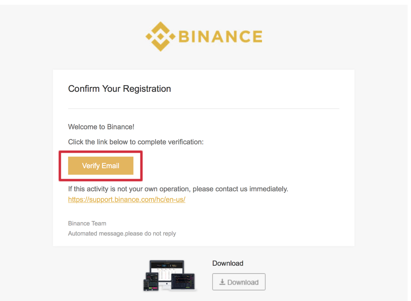 binance confirm registration