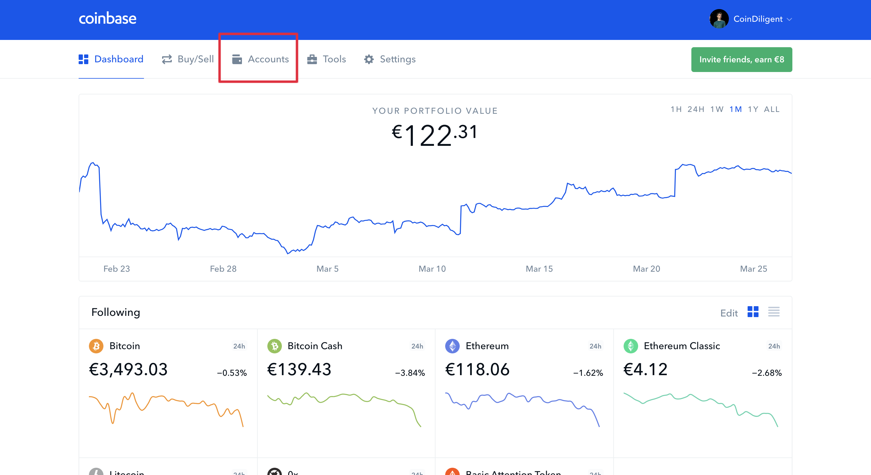 coinbase accounts tab