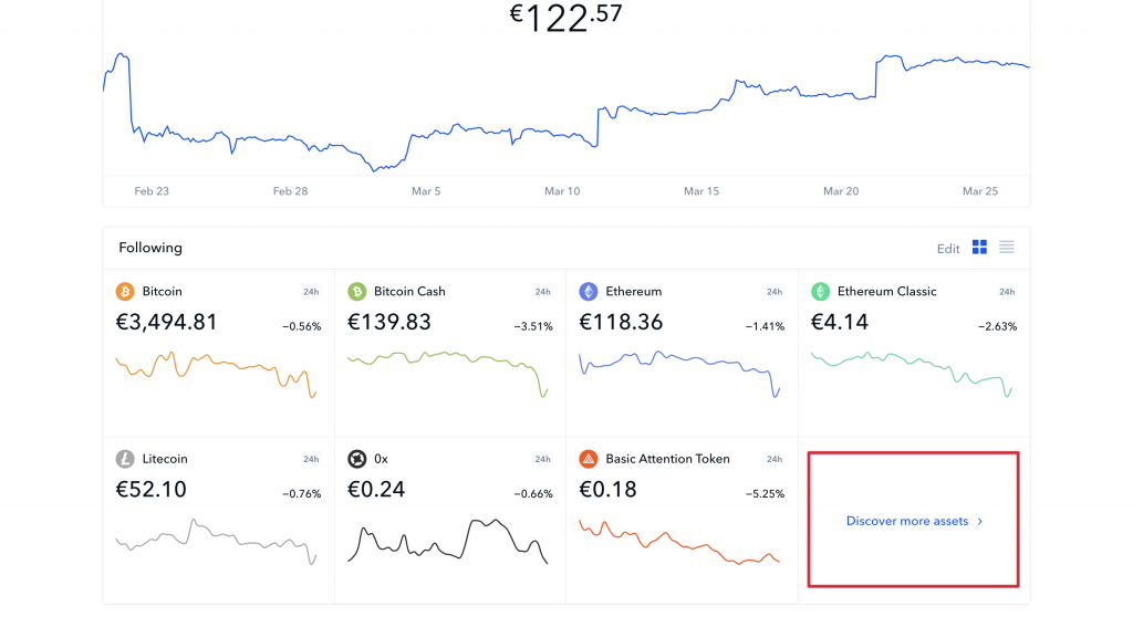 coinbase discover more assets button