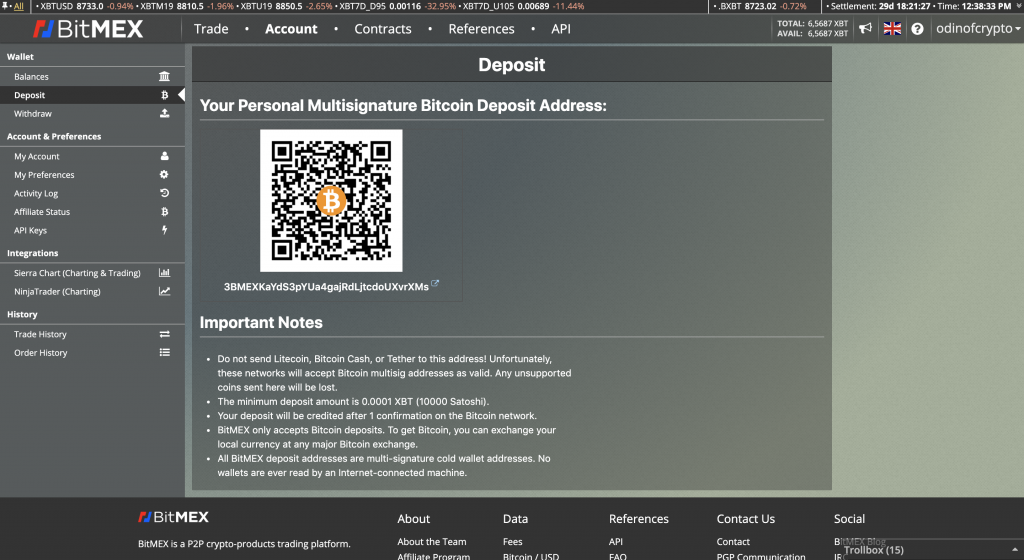 deposit funds on bitmex