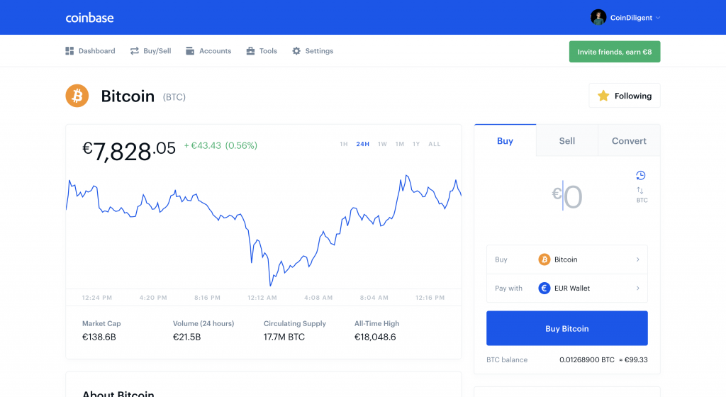 trade bitcoin on coinbase