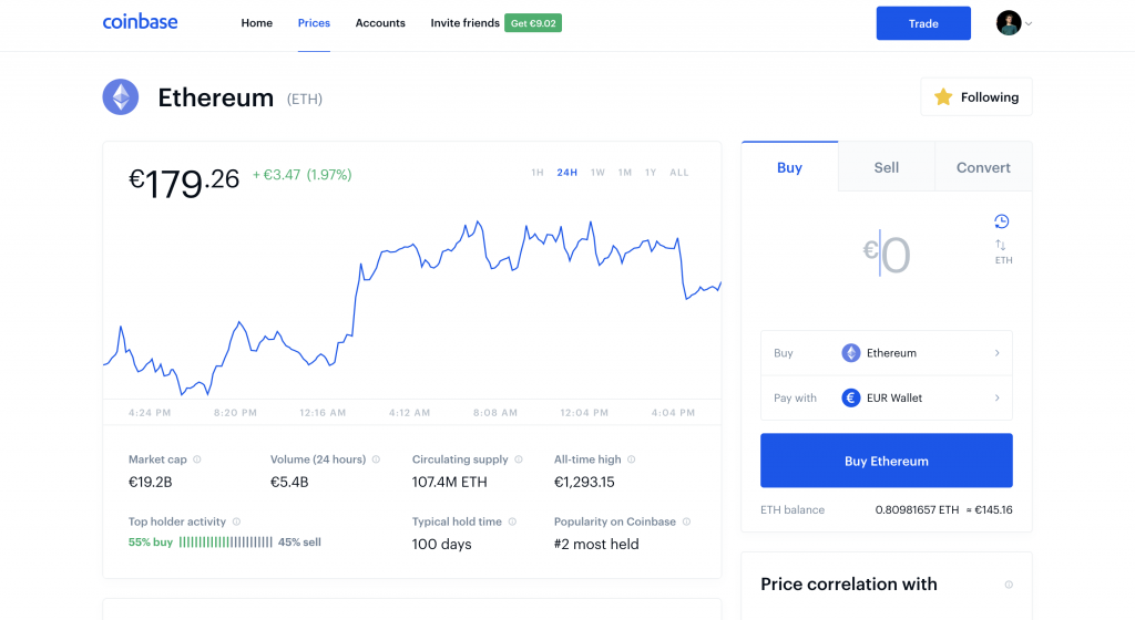 buy ethereum on coinbase
